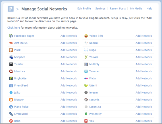 Update multiple social networks in one place with Ping.fm